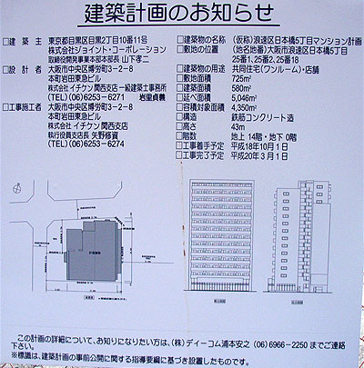 旧「ナカヌキヤアウトレット日本橋店」跡の開発計画が判明
